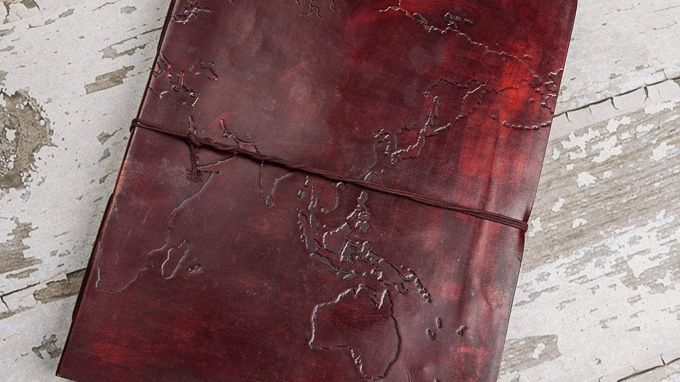 Extra Large World Map 14x11 Handmade Leather Journal