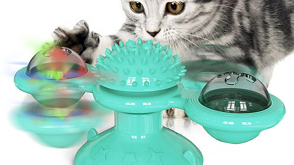 Pet Cat Teaser Toy Windmill Turntable Hair Brush