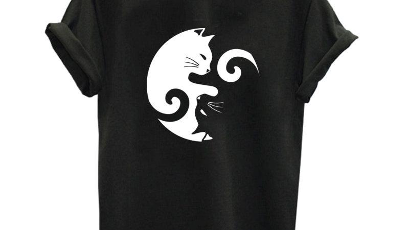 100% Cotton Top Quality Cat Print Women T Shirt