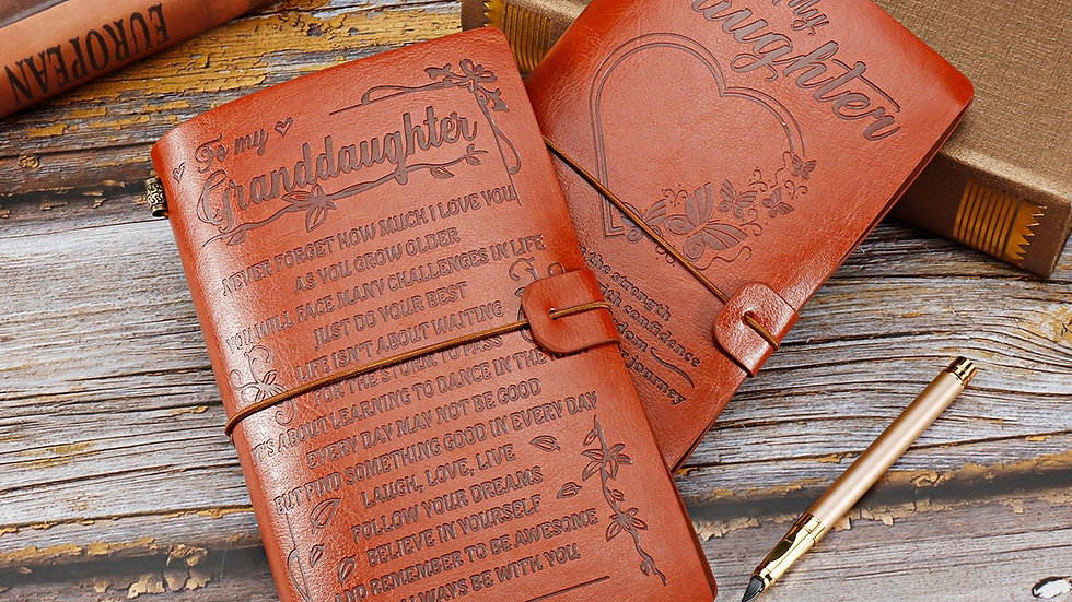 20x12cm Engraved Leather Journal Notebook Diary