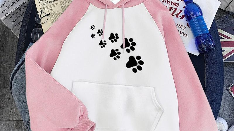 Fleece Women's Print CAT PAWS Hoodies Sweatshirt