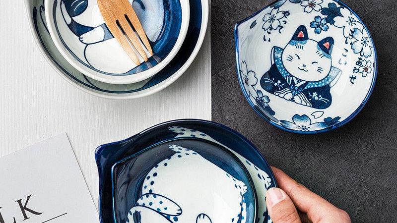 Creative Japanese Style Hand-Painted Cartoon Cute Cat Ceramic Bowl