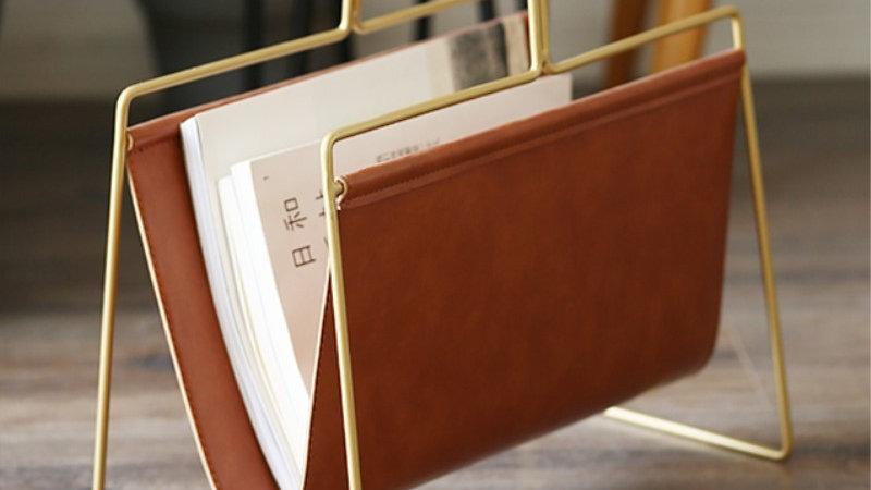 Nordic PU Leather Metal Gold Bookshelf Iron File Book Organiser