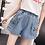 Thumbnail: Embroidery Cat Jeans Woman Pocket Plus Size Wide Leg High Waist Shorts