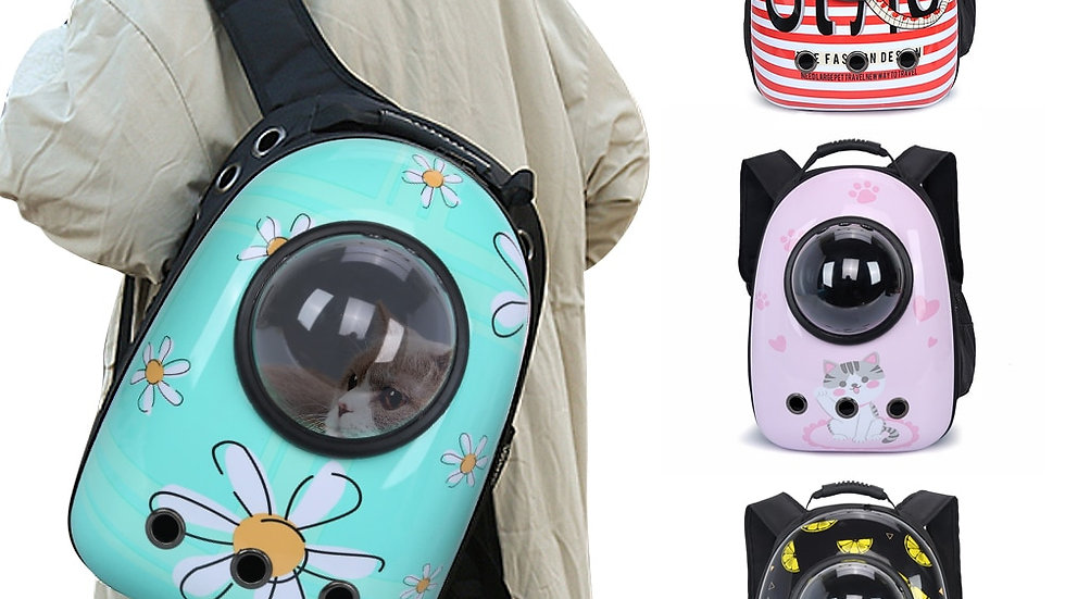Cartoon Cat Backpack Breathable Transparent