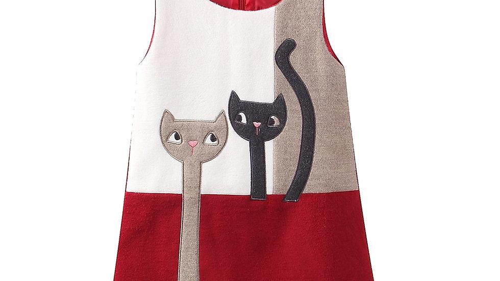 Little Girls Dresses Sleeveless Wool Cute Cats