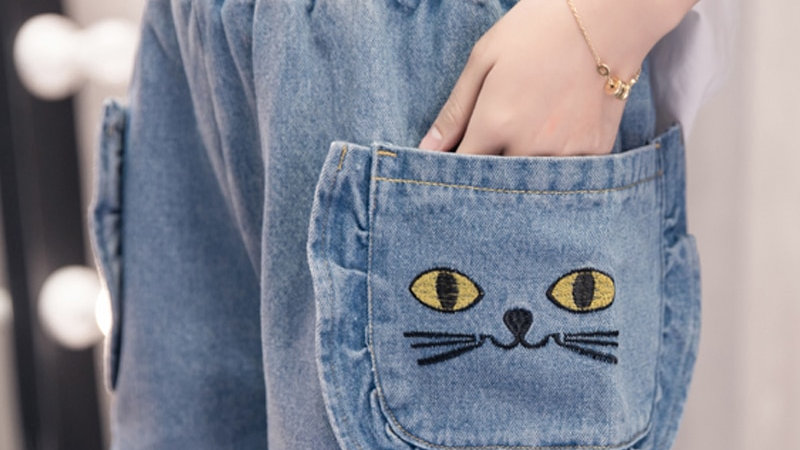 Embroidery Cat Jeans Woman Pocket Plus Size Wide Leg High Waist Shorts