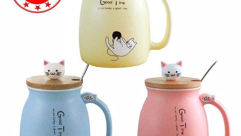 Creative Colour Heat-Resistant Mug Cartoon With Lid 450ml