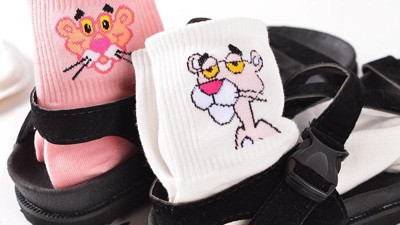 Japanese Kawaii Cartoon Tube Socks Pink Panther Cotton Long Socks
