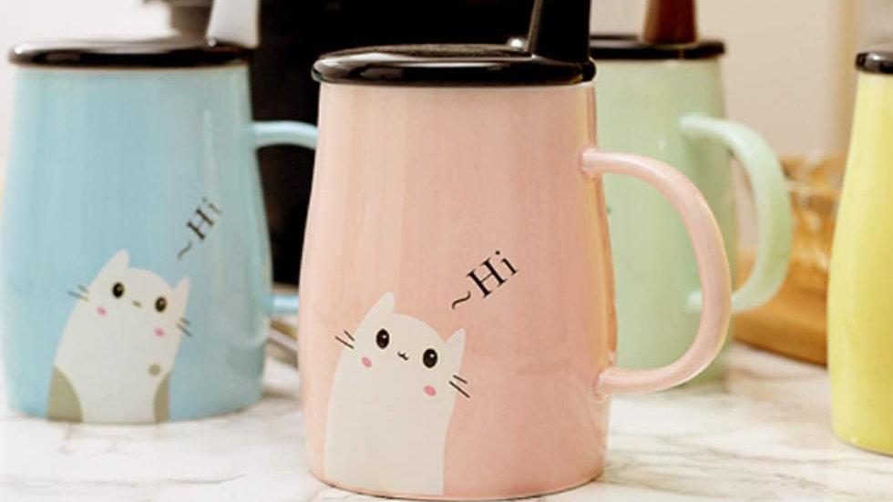 Cat Heat-Resistant Colour Cartoon With Spoon Ceramic Mug