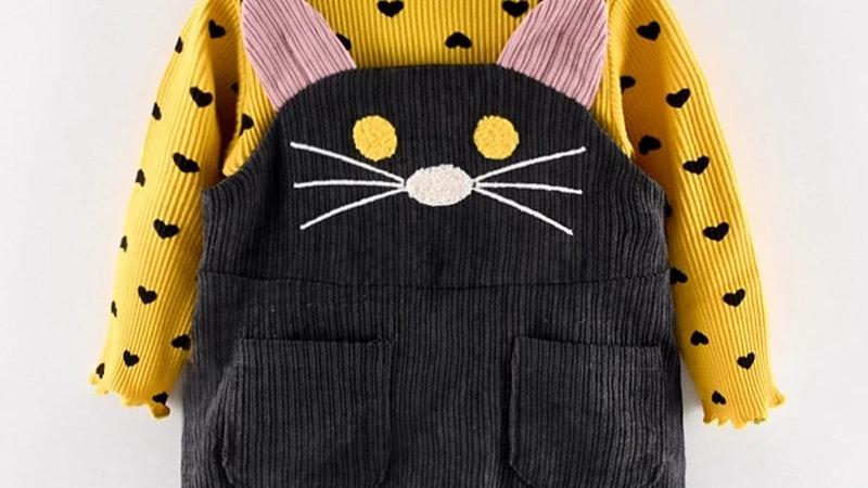 Girls Clothes Sets Cotton Long Sleeves Dot T-Shirt+Cat Strap Dress