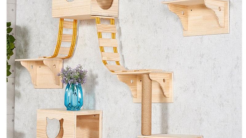 Solid Wood Cat Climbing Frame Jumping Platform Wall Hanging