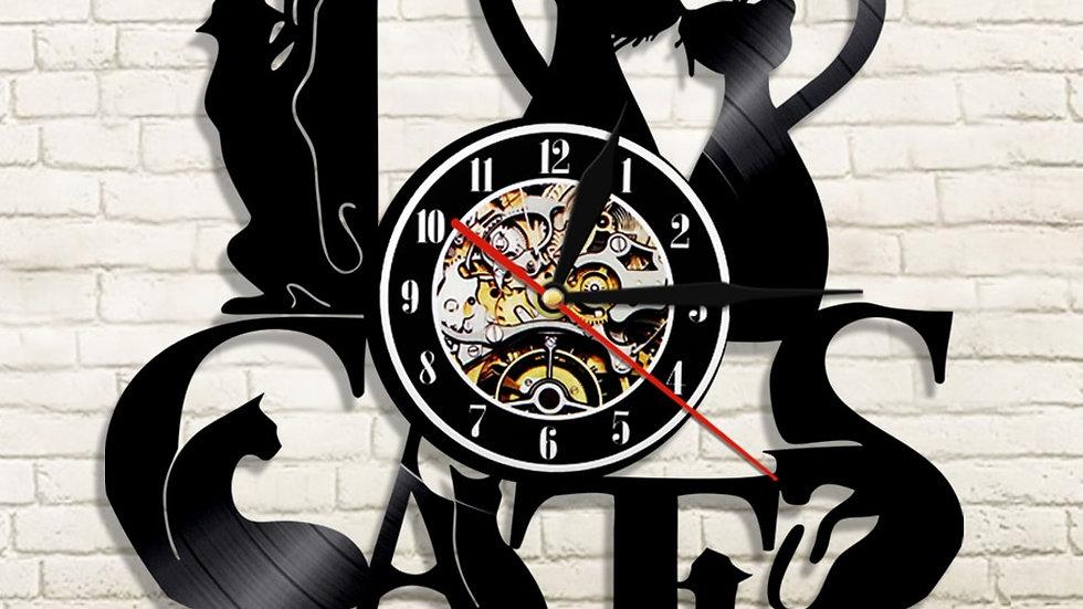 I Love Cats Vinyl Record Wall Clock Modern Design