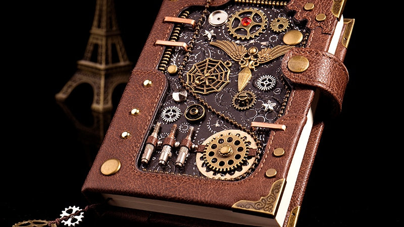 Steampunk Loose-Leaf Retro Hand Book Notepad Leather Diary Gift