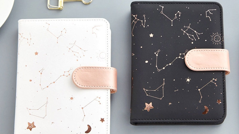 Starry Star Moon PU Leather Notebook HardcoverJournal