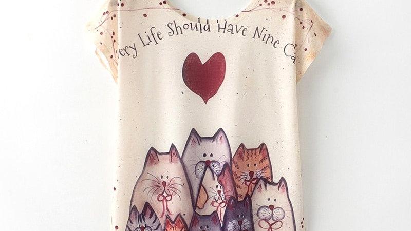 Women T Shirt Cat Print T-Shirt Short Sleeve Tops