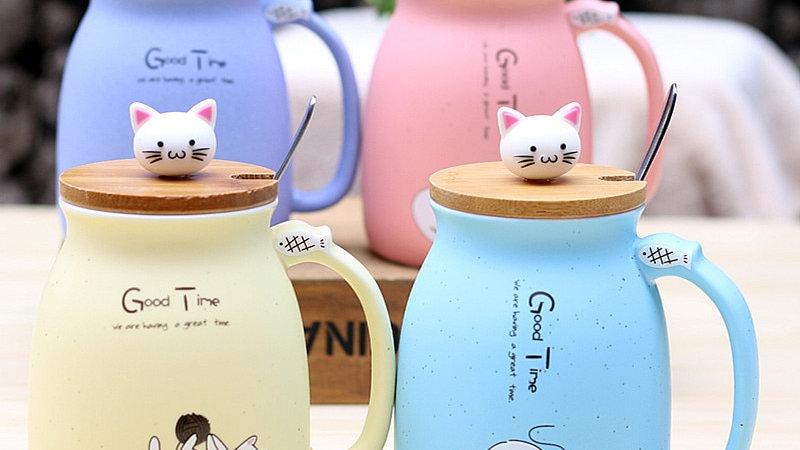 450ml Cartoon Ceramics Cat Mug With Lid and Spoon
