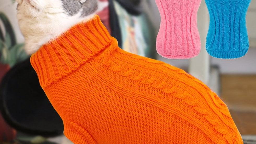 Warm Cat Sweater Clothing Winter Turtleneck Knitted