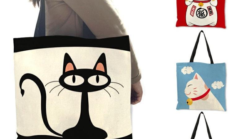 Cartoon Animal Cat Print Tote Bag Folding Reusable Shopping