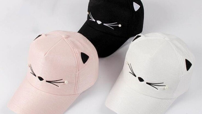 Adjustable Embroidery Hat Cat Ears Snapback Cap Baseball Cap