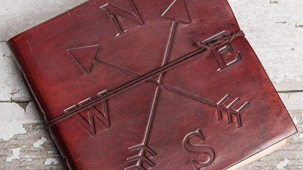 Compass 7x7 Artist Handmade Leather Journal