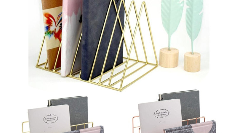 Solid 9 Grid File Storage Shelf Book Stand Desktop Nordic Wrought Iron