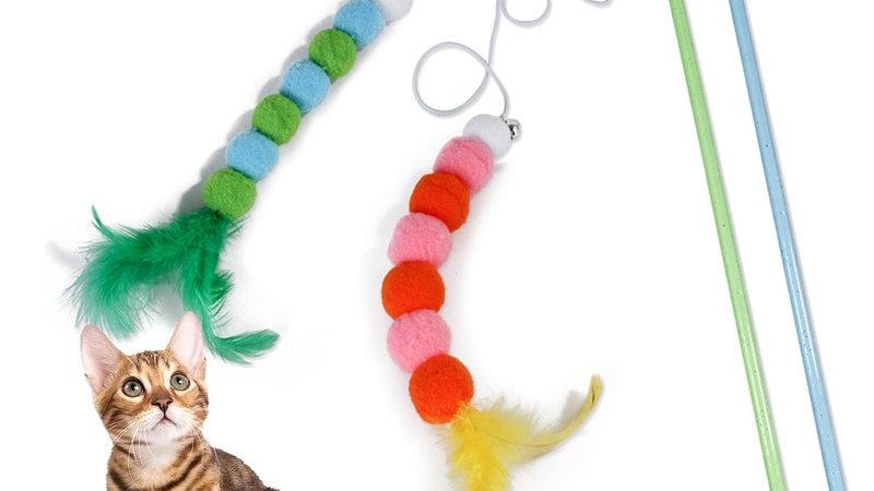 Cat Stick Feather Toys Plush Cat Nip Tease Toy