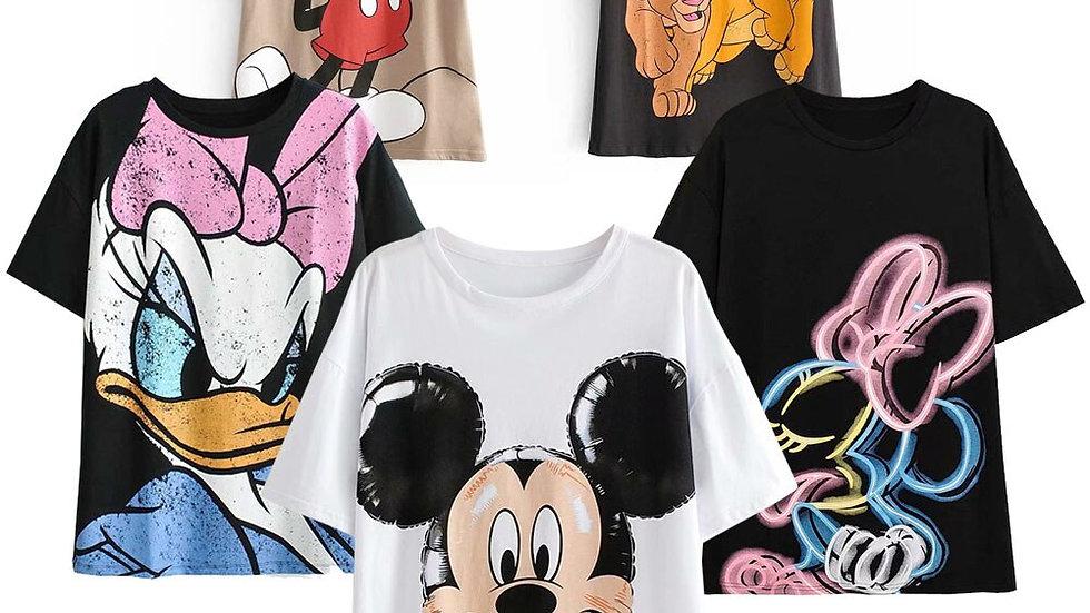 Disney Lion King Simba Nala Cartoon Print T-Shirt O-Neck