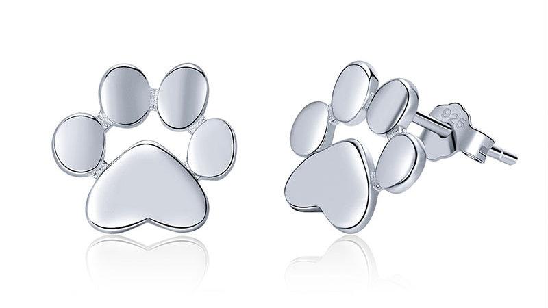 925 Sterling Silver Animal Paw Stud Earrings