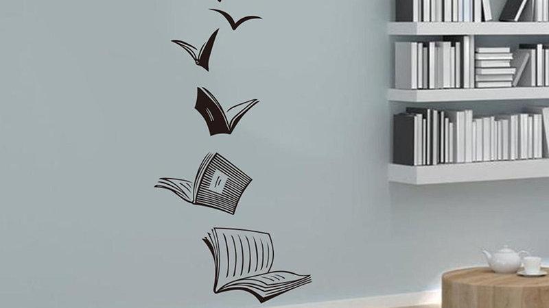 Reading Book Fly Birds Wall Decal Vinyl Wall Sticker