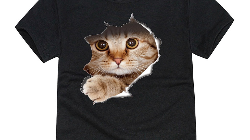3D Cat T Shirts 8 Designs Children T-Shirts for 1-14 Years