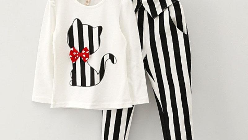Cat Cartoon T-Shirt + Stripe Legging Suit Girl Clothing Set