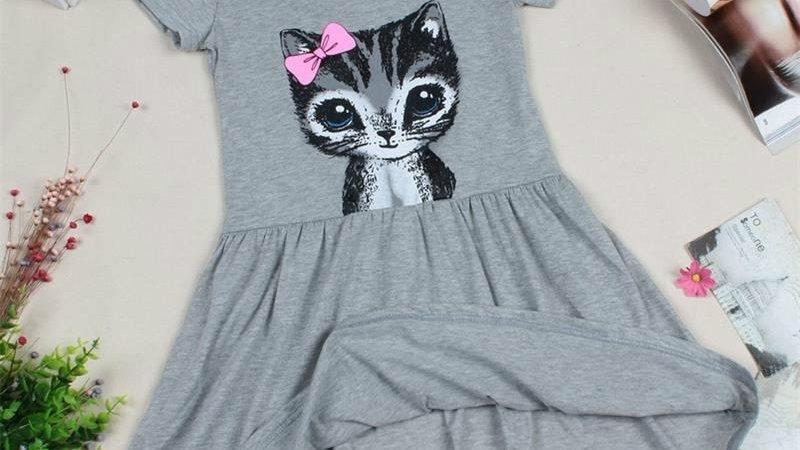 Summer Cat Print Girl's Dress  0-8years