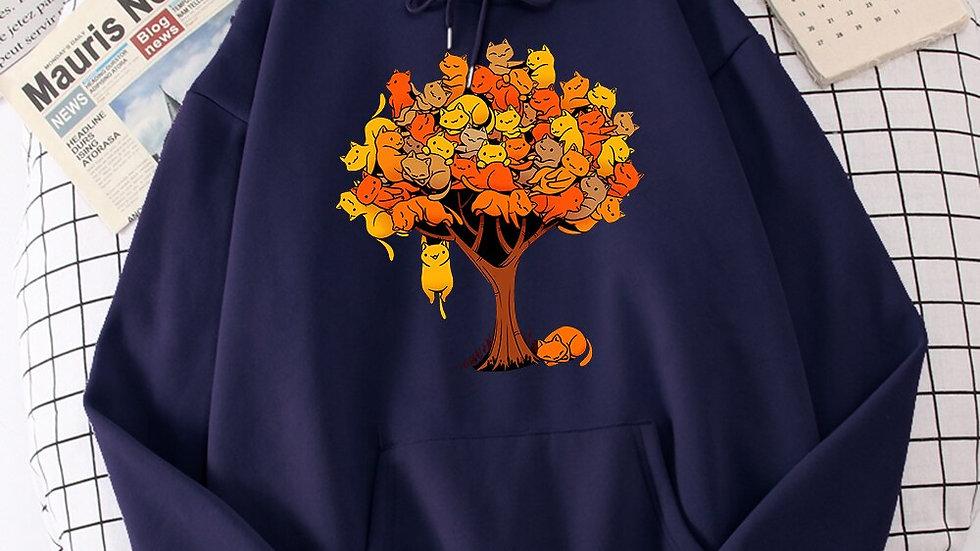 Cat Tree Cartoons Casual Prints Hoodie