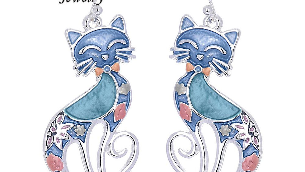 Cute Cartoon Design Cat Drop Earrings