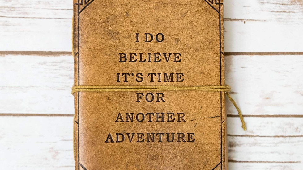 Another Adventure Quote Leather Journal - 7x5 Tan Color
