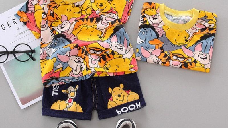 Clothing Sets Brand Cartoon Pooh Bear Print Cotton TShirts+Short Jeans 2PCS Sets