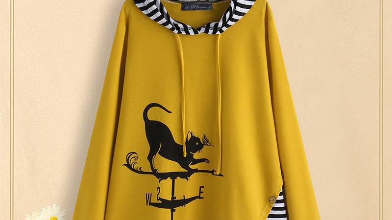 Cat Cartoon Print Tunic Tops Hooded Striped Long Sleeve Blouse