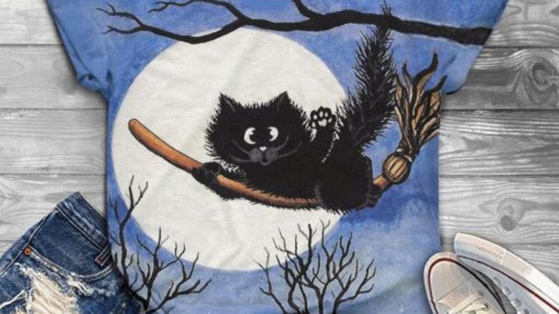 Cute T Shirt Cats Print Cartoon Kawaii