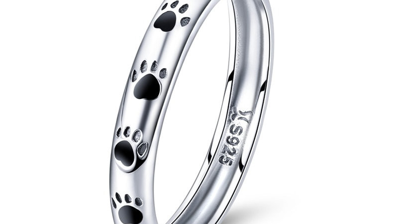925 Sterling Silver Stackable Footprints Ring