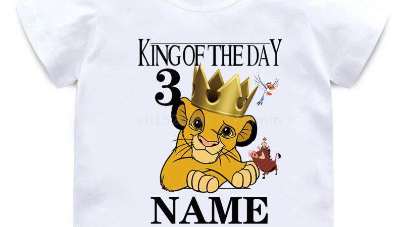 Custom Name Birthday T Shirt Number 1-10 King of the Day Cartoon T-Shirt