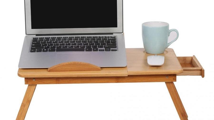 Portable Bamboo Computer Desk Shelf