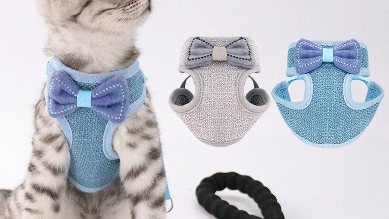Breakaway Cat Collar Cute Bow Vests Cat Harness and Leash
