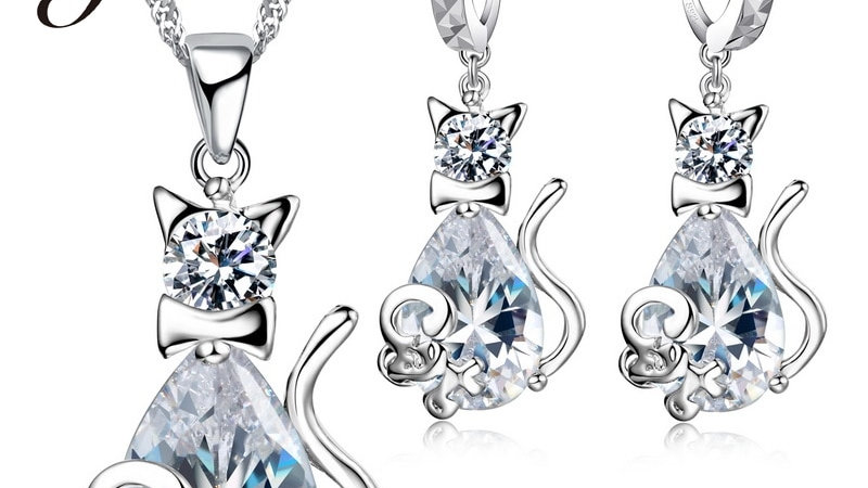 Cat & Mouse Jewellery Sets 925 Sterling Silver CZ AAA Cubic Zirconia Crystal