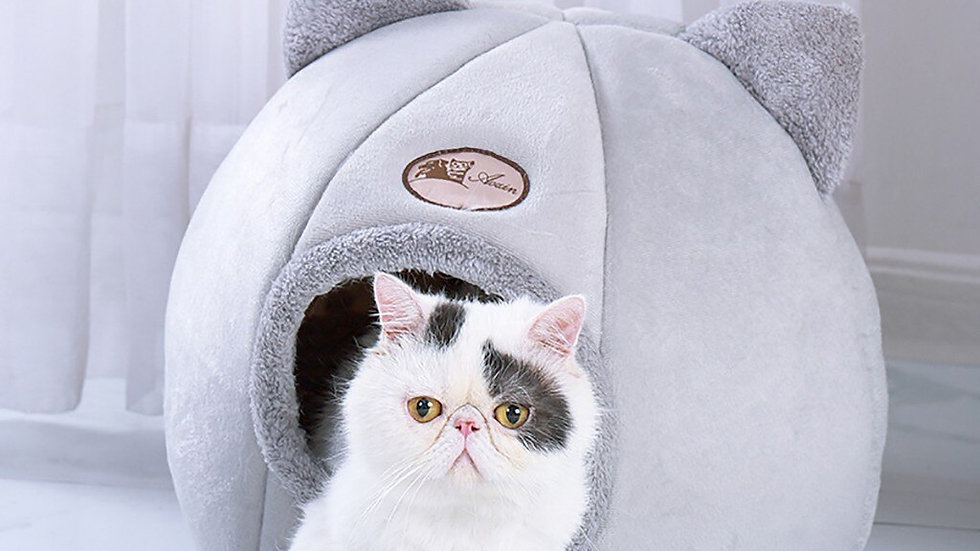 Pet Cat House With Ears Soft Plush