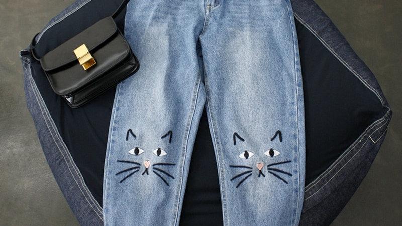 Jeans Women Kawaii Cat Embroidery