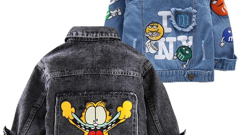 Kids Cartoon Garfield Denim Jacket Outerwear 2-7 Yrs
