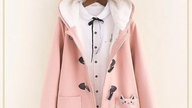 Cat Pockets Warm Hooded Coat