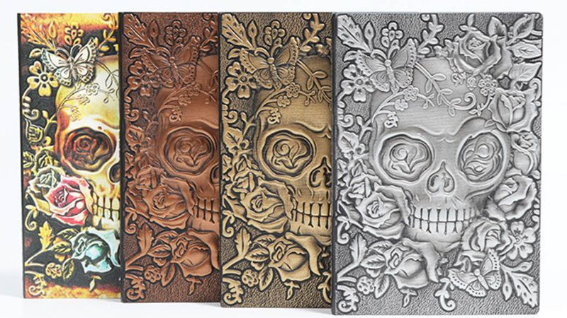 Creative Skull Embossed A5 Leather Notebook Journal Notepad Travel Diary Planner