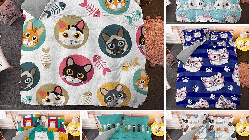 Luxury Bedding Sets Cartoon Cat  Duvet Cover Set